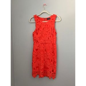 ASTR Coral Structured Lace Sheath Mini Dress